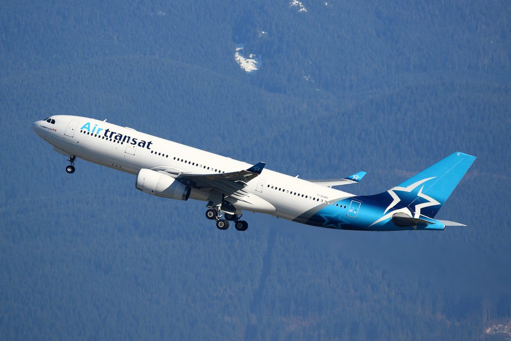 Air Transat C GUBH Airbus A330 200 departing Vancouver International Airport