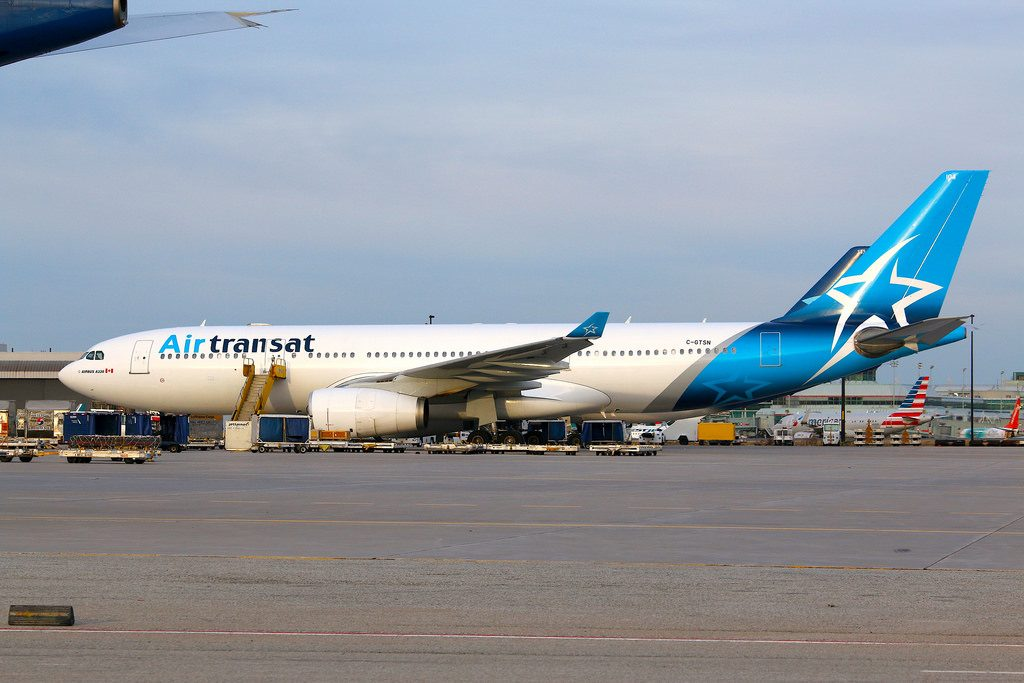 Air Transat New Livery C GTSN Airbus A330 243 Parked in cargo area YYZ CYYZ