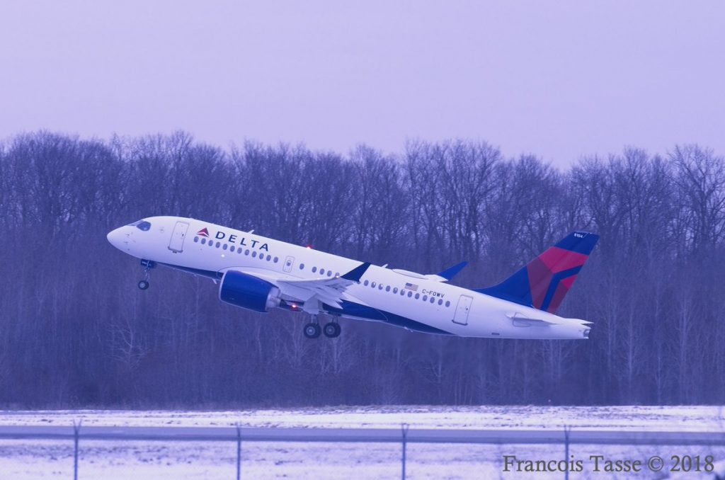 Airbus A220 100 Delta Air Lines Aircraft Fleet N104DU departing Montréal–Mirabel International Airport @Francois Tasse