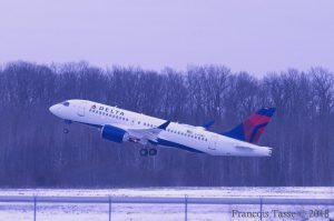 Airbus A220 100 Delta Air Lines Aircraft Fleet N104DU departing Montréal–Mirabel International Airport @Francois Tasse