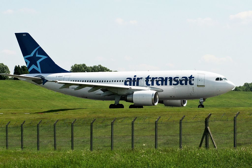 Airbus A310 300 of Air Transat Aircraft Fleet C GSAT taxiing on runway at Birmingham Airport