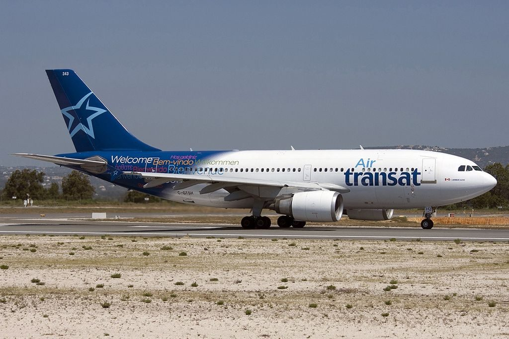 Airbus A310 300 of Air Transat C GTSH at Faro Airport Portugal