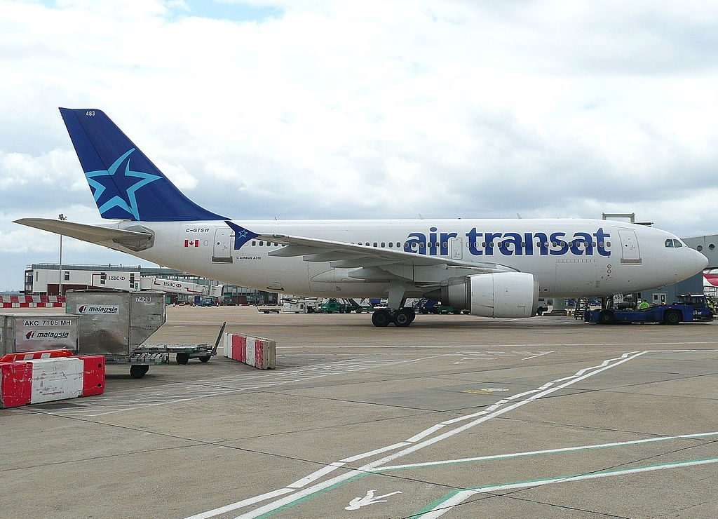 Airbus A310 300 of Air Transat aircraft fleet C GTSW at London Heathrow Airport