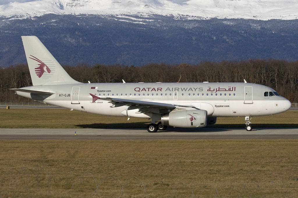 Airbus A319 133LR Qatar Airways A7 CJB at GVA Geneva Geneve Cointrin