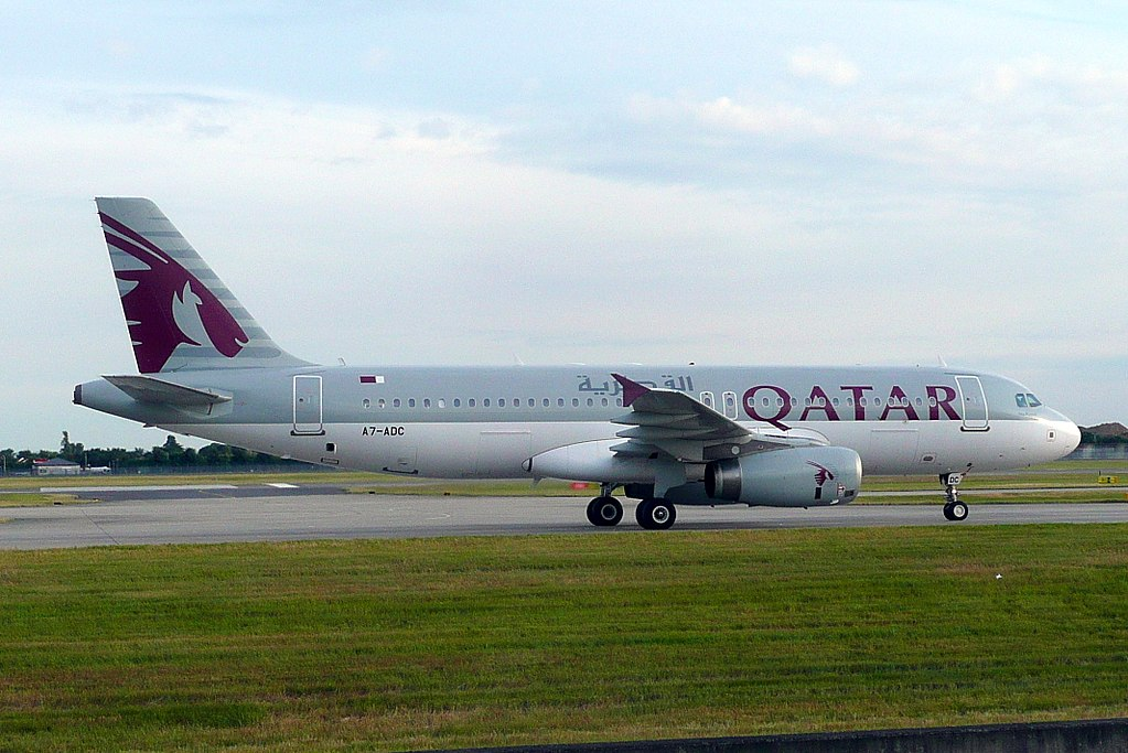Airbus A320 200 A7 ADC Qatar Airways at LHR