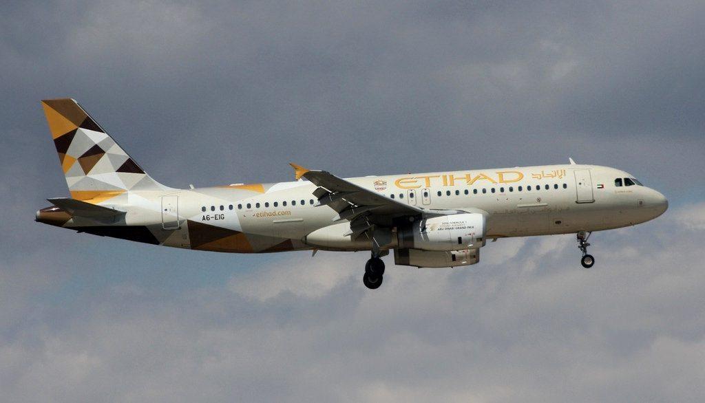 Airbus A320 200 Etihad Airways A6 EIG at Athens Eleftherios Venizelos airport
