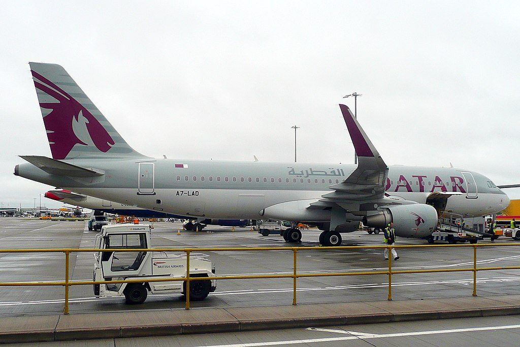 Airbus A320 200 Qatar Airways A7 LAD parking at LHR