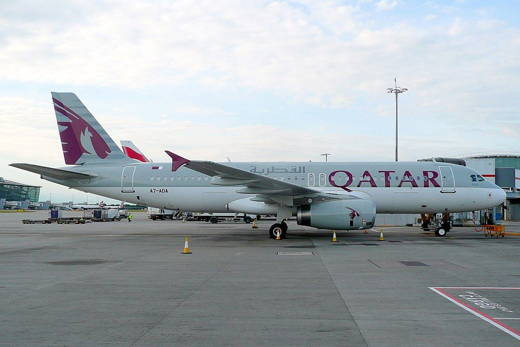 Airbus A320 200 of Qatar Airways A7 ADA at London Heathrow Airport