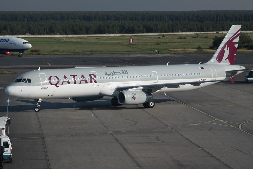 Airbus A321 200 of Qatar Airways A7 AIC at Moscow Domodedovo International Airport