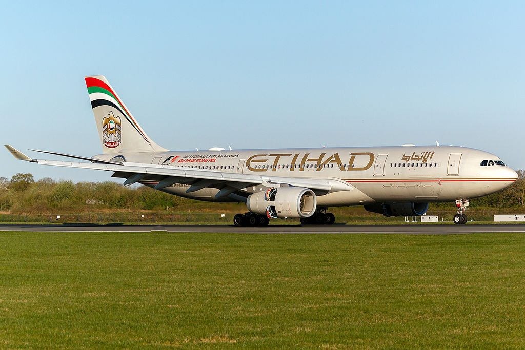 Airbus A330 200 Etihad Airways A6 EYU arrival at Manchester Airport