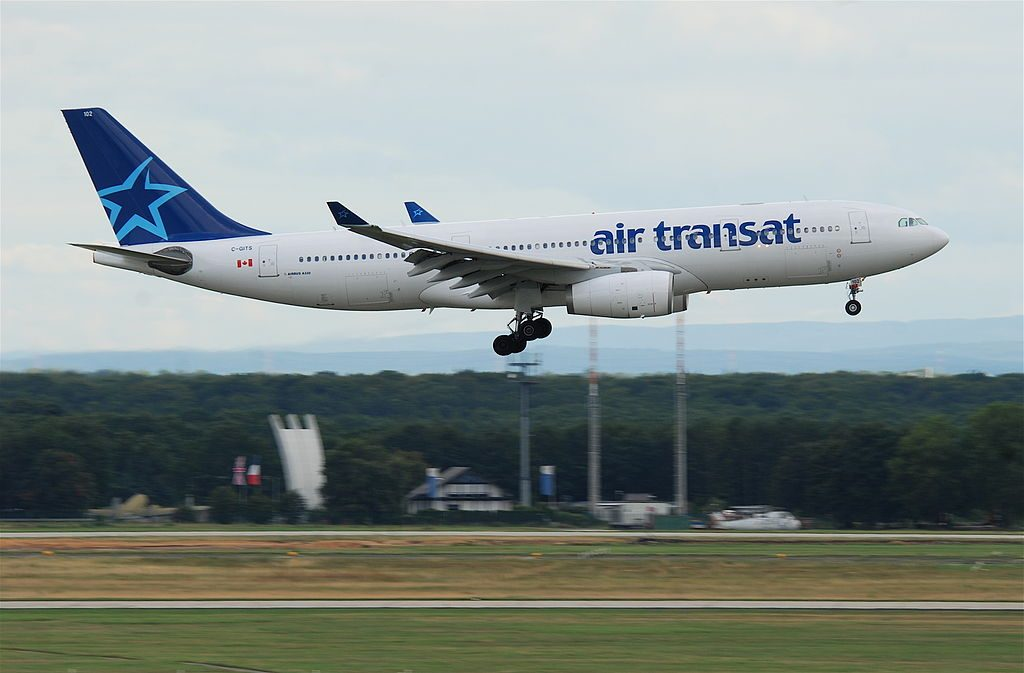 Airbus A330 200 of Air Transat C GITS on final approach at Frankfurt Airport