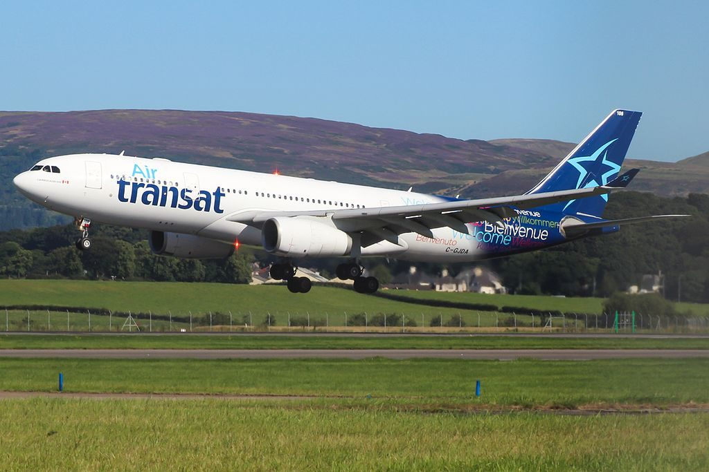 Airbus A330 200 of Air Transat C GJDA landing at Glasgow International Airport