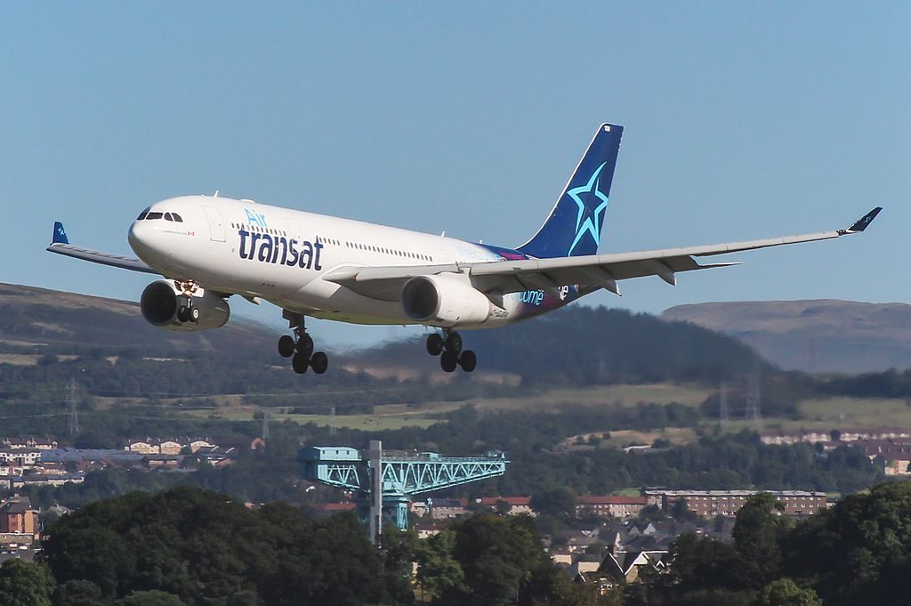 Airbus A330 200 of Air Transat C GJDA on final approach before landing at Glasgow International Airport