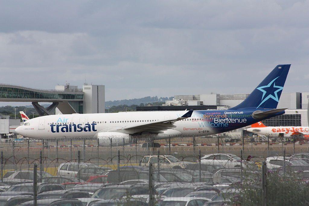 Airbus A330 200 of Air Transat aircraft fleet C GTSI at London Gatwick Airport