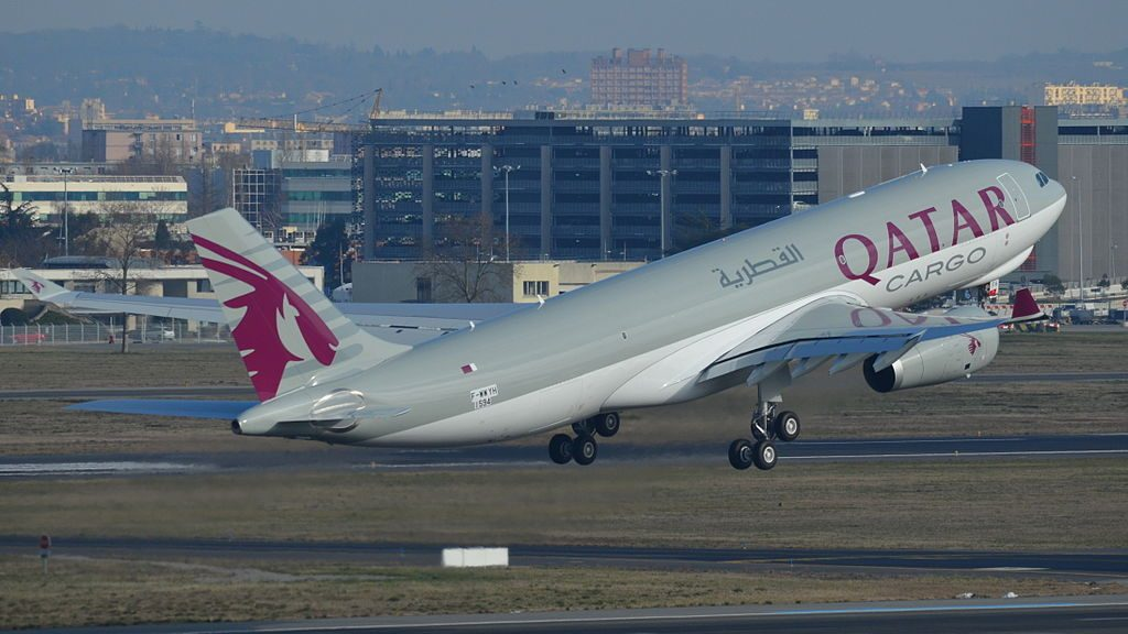 Airbus A330 200F of Qatar Airways Cargo A7 AFH at Toulouse Blagnac International Airport