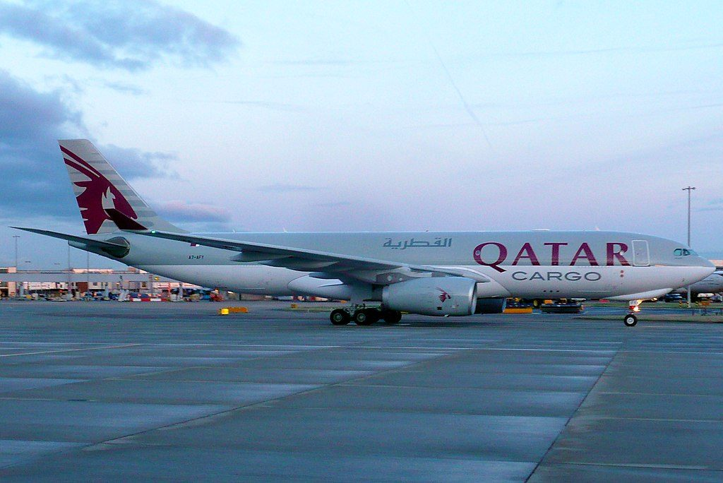 Airbus A330 200F of Qatar Airways Cargo A7 AFY at London Heathrow Airport