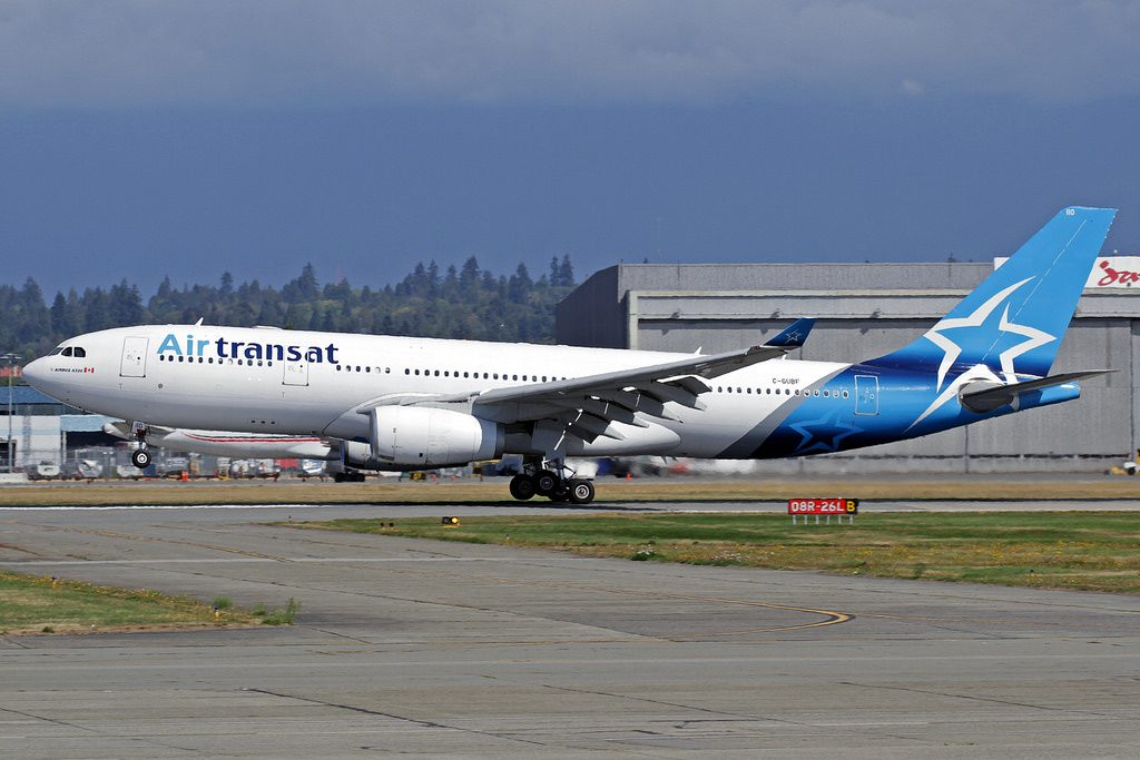 Airbus A330 243 C GUBF Air Transat landing and takeoff at Vancouver International Airport