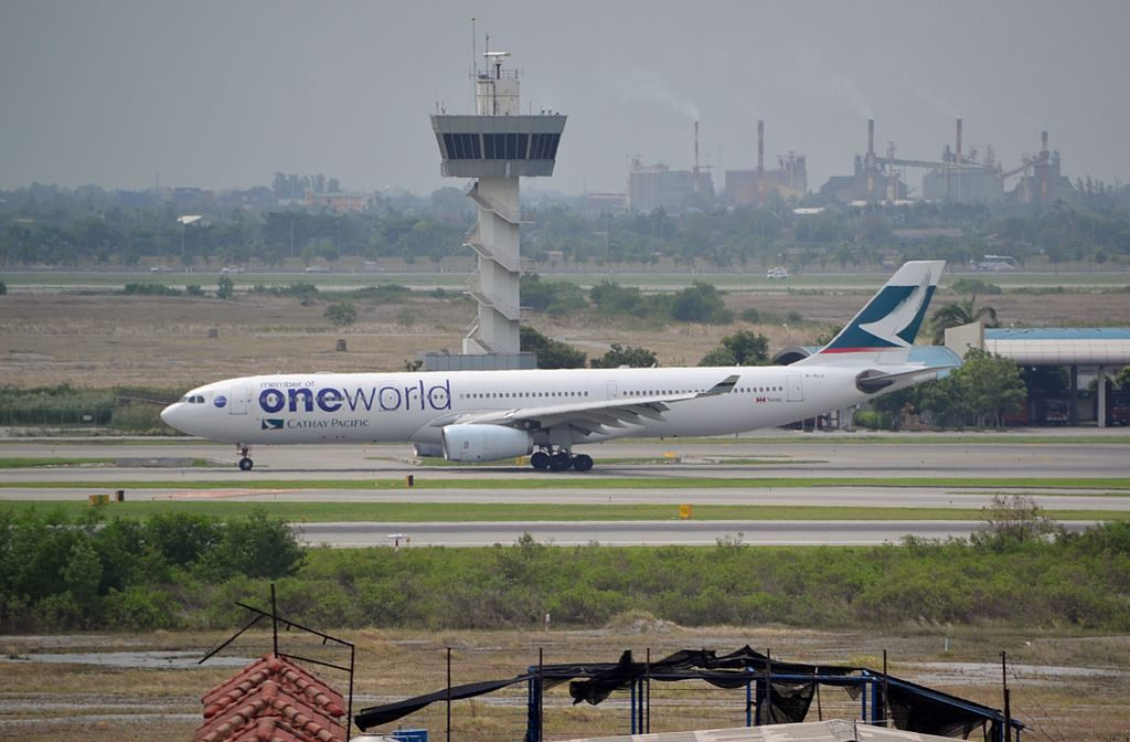 Airbus A330 300 B HLM Cathay Pacific fleet on One World livery at Suvarnabhumi International Airport