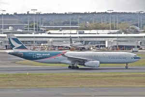 Airbus A330 300 Cathay Pacific B LAD in 100th aircraft livery colors at Sydney Airport