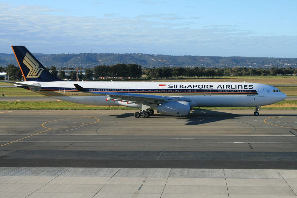 Airbus A330 300 Singapore Airlines 9V SSG at Adelaide Airport Australia