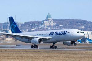 Airbus A330 300 of Air Transat C GCTS landing at Montréal Pierre Elliott Trudeau International Airport
