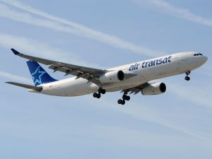 Airbus A330 300 of Air Transat C GCTS on final approach at at Málaga Airport Spain