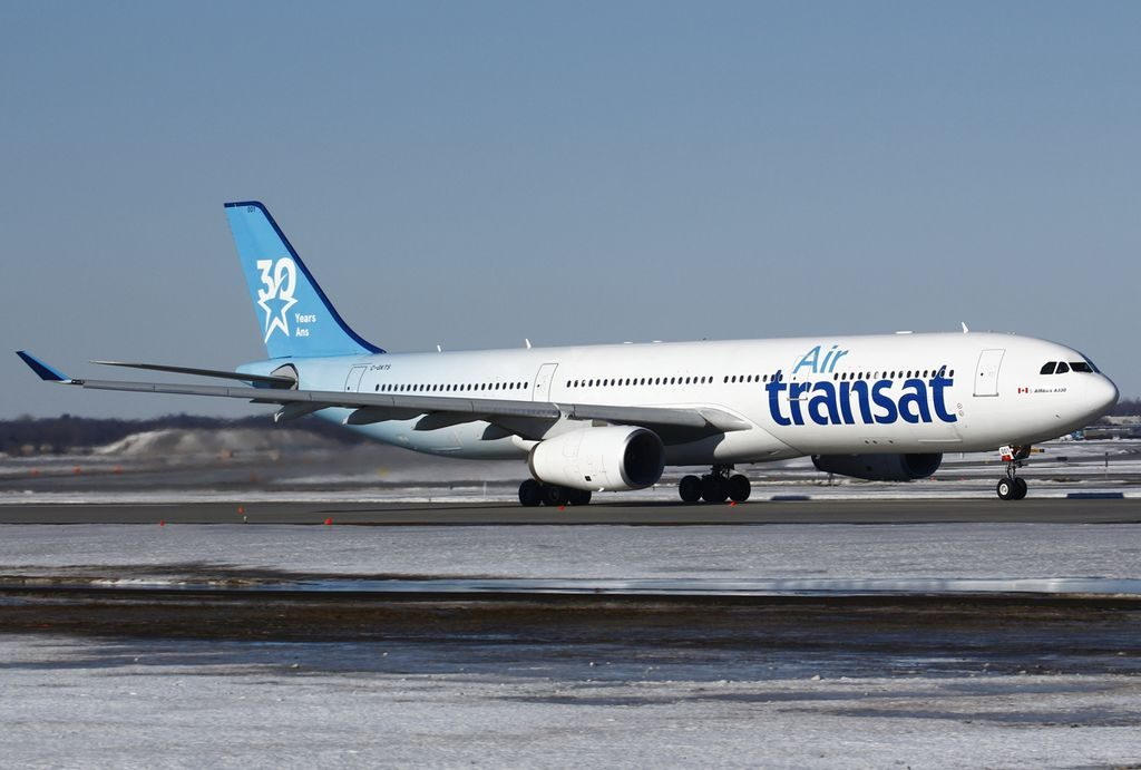 Airbus A330 300 of Air Transat C GKTS on special 30 Years tail livery at Montréal Pierre Elliott Trudeau International Airport