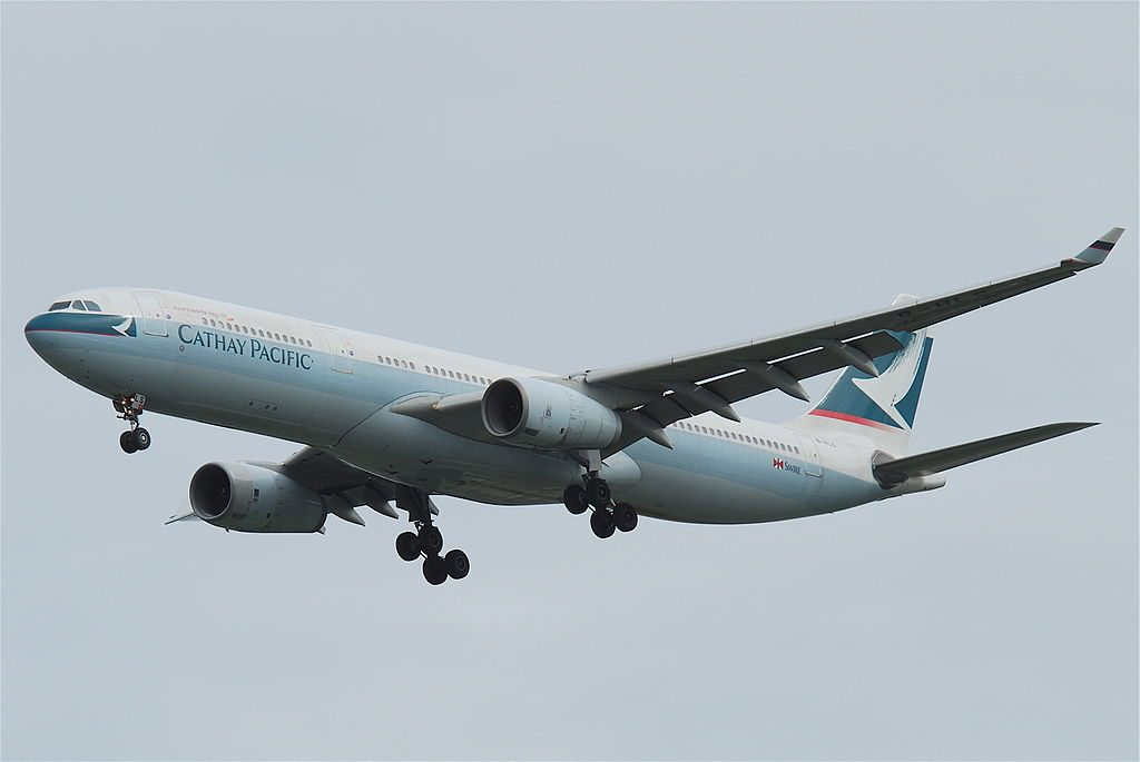 Airbus A330 300 of Cathay Pacific B HLS on final approach at Suvarnabhumi International Airport