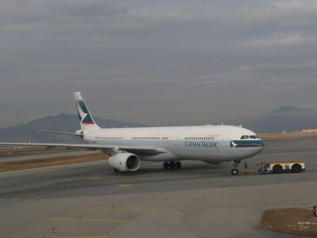 Airbus A330 300 of Cathay Pacific B LBA at Hong Kong International Airport