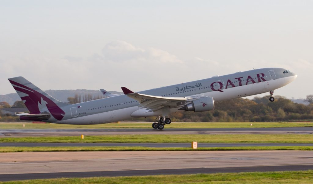Airbus A330 300 of Qatar Airways A7 AEG departing at Manchester Airport