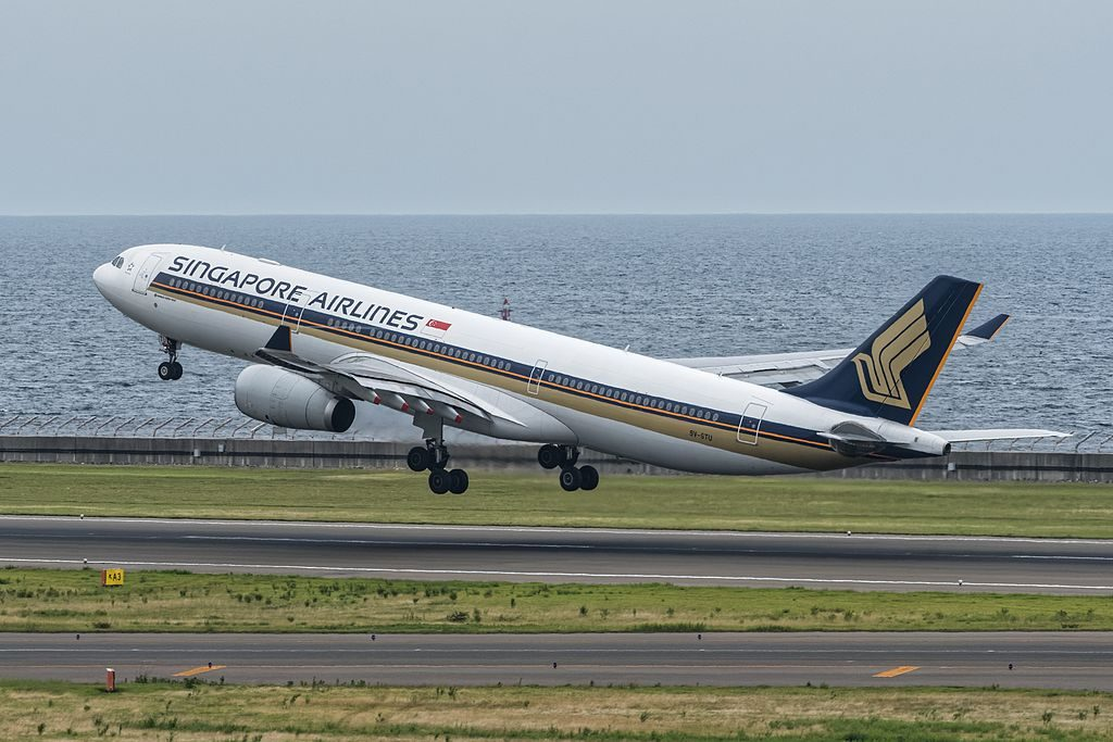 Airbus A330 300 of Singapore Airlines 9V STU at Chubu International Airport