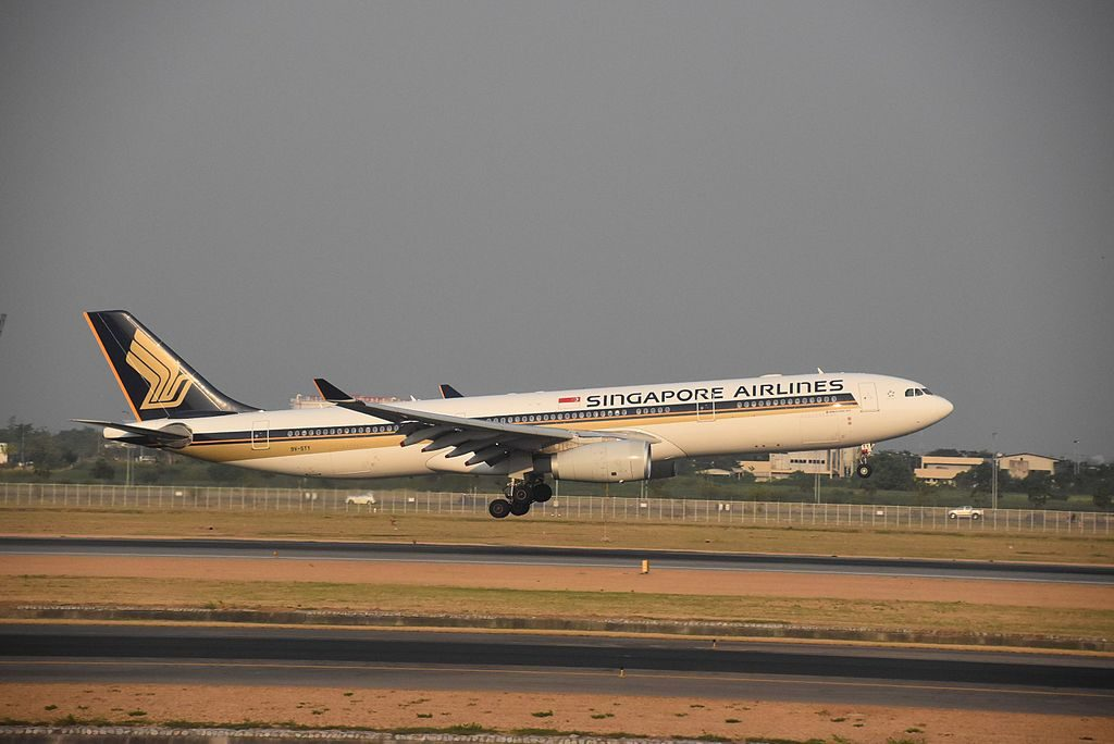 Airbus A330 300 of Singapore Airlines 9V STY touch down on rwy19L at Bangkok BKK Suvarnabhumi International Airport