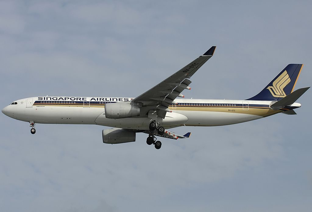 Airbus A330 343E Singapore Airlines Registration 9V STC on final approach at Singapore Changi Intl Airport WSSS