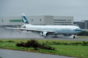 Airbus A330 343X Cathay Pacific Airways B HLT landing at Taoyuan Taipei Taiwan International Chiang Kai Shek