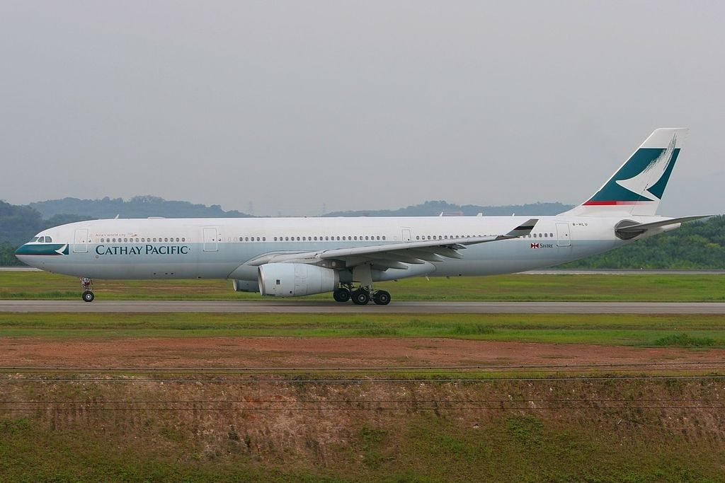 Airbus A330 343X Cathay Pacific Airways B HLU taxiing at Kuala Lumpur International Airport