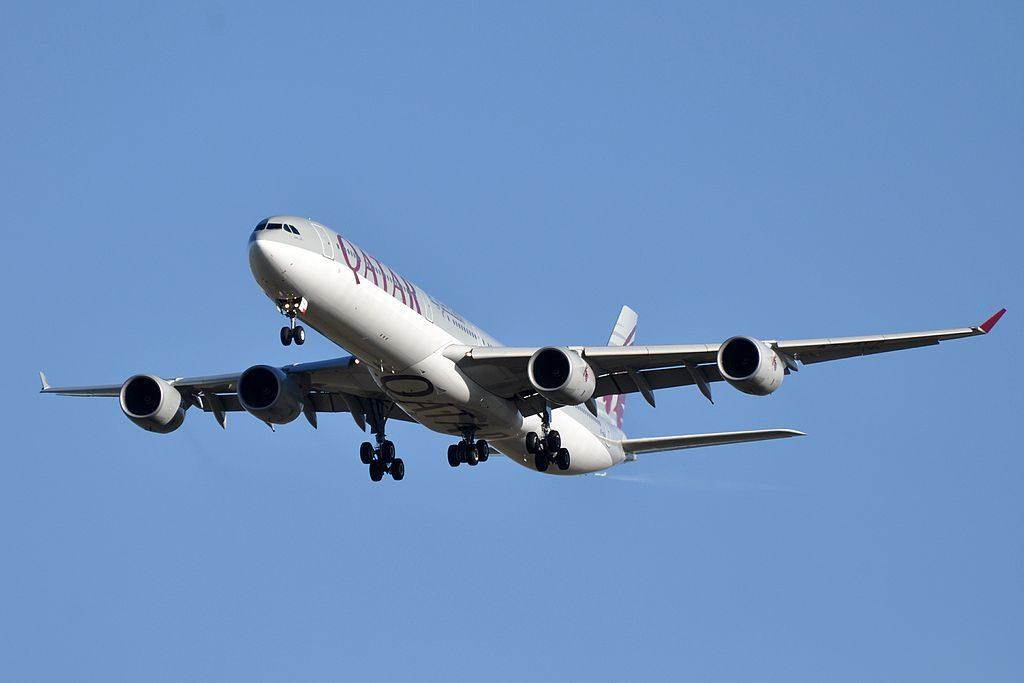 Airbus A340 600 of Qatar Airways A7 AGA on final approach at Paris Charles de Gaulle Airport