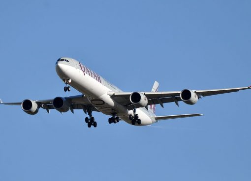 Airbus A340 600 of Qatar Airways A7 AGA on final approach at Paris Charles de Gaulle Airport