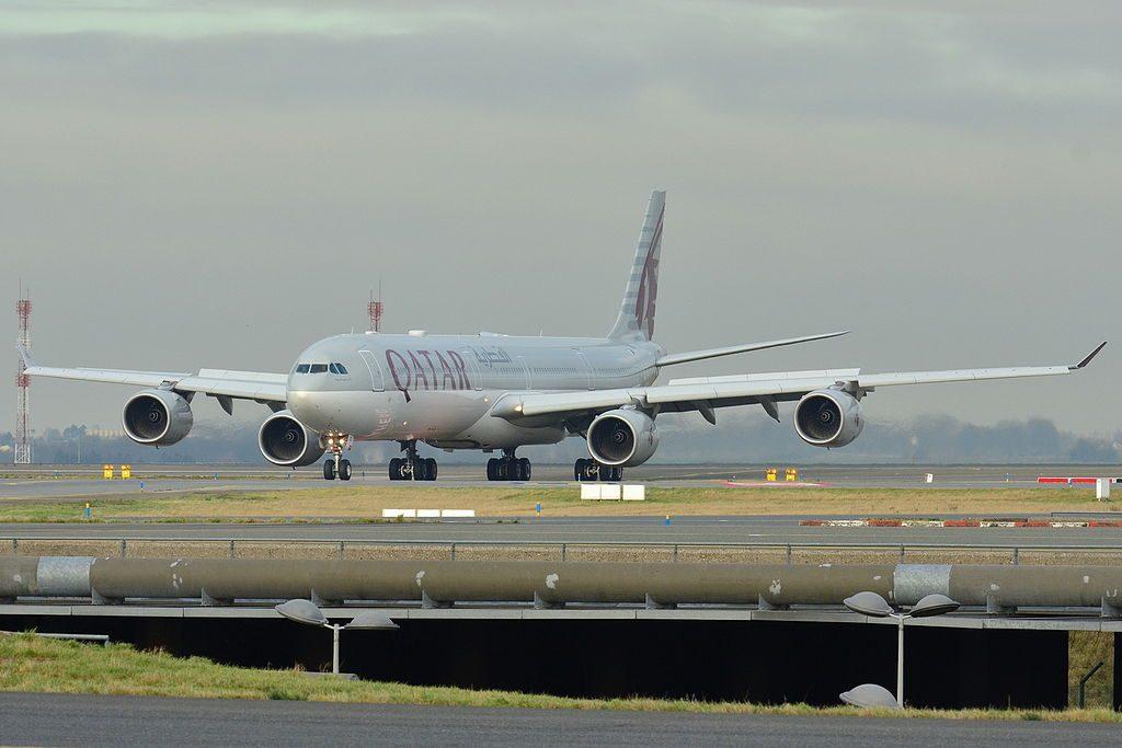 Airbus A340 600 of Qatar Airways A7 AGD at Roissy Charles de Gaulle LFPG