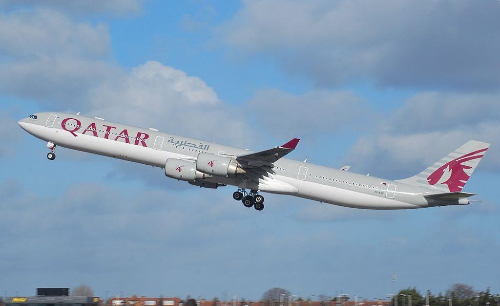 Airbus A340 642 Qatar Airways A7 AGC departing for Doha at London Heathrow