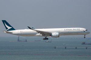 Airbus A350 1000 B LXC Cathay Pacific arrival from Manila at Hong Kong International Airport