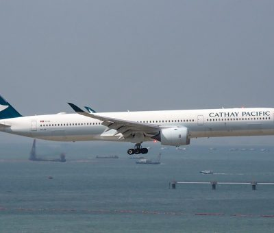 Airbus A350 1000 B LXC Cathay Pacific arrival from Manila at Hong Kong International Airport