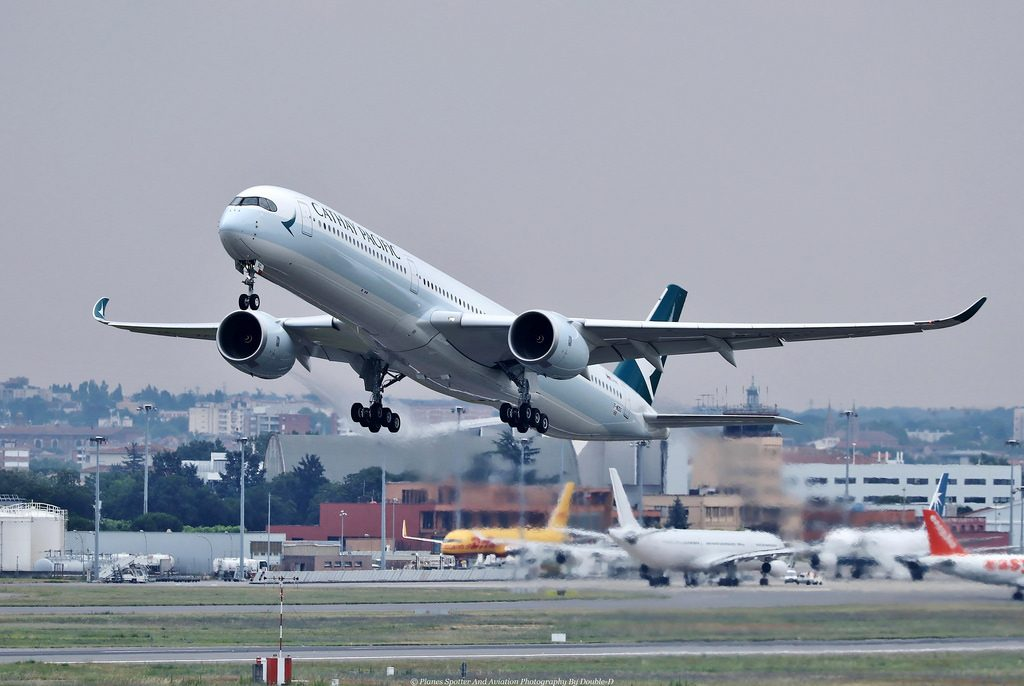 Airbus A350 1000 B LXC Cathay Pacific registration tesT F WZGS taking off Toulouse LFBO