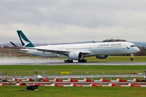 Airbus A350 1000 Cathay Pacific Aircraft Fleet B LXE landing at Manchester Airport