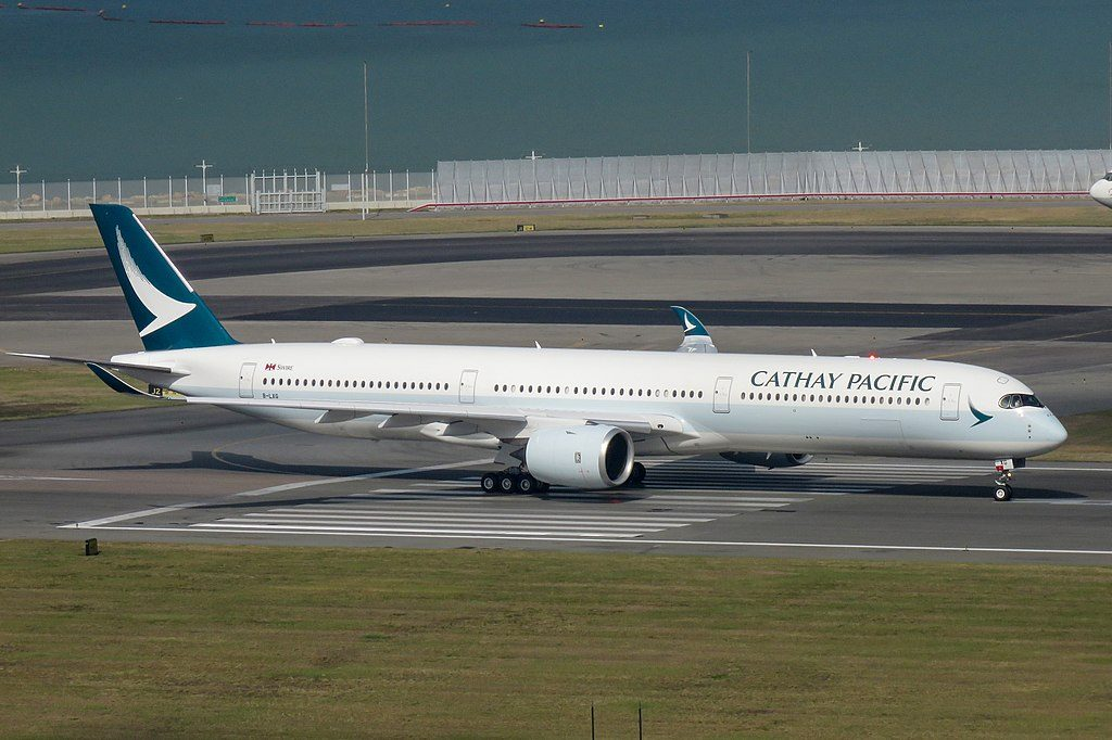 Airbus A350 1000 Cathay Pacific B LXG at Hongkong International Airport heading to Bangkok