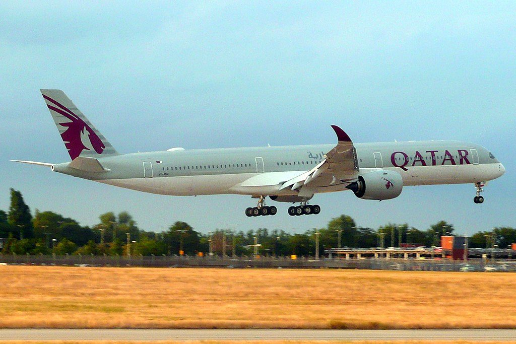 Airbus A350 1000 of Qatar Airways A7 ANB at London Heathrow Airport