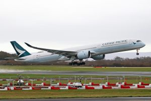 Airbus A350 1041 Cathay Pacific Airways B LXB departing Manchester Airport