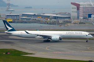 Airbus A350 1041 Cathay Pacific Airways B LXB taxiing at Hong Kong International Airport