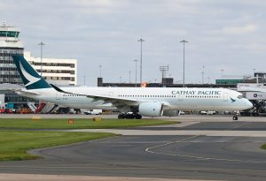 Airbus A350 900 B LRF Cathay Pacific taxiing at Manchester Airport