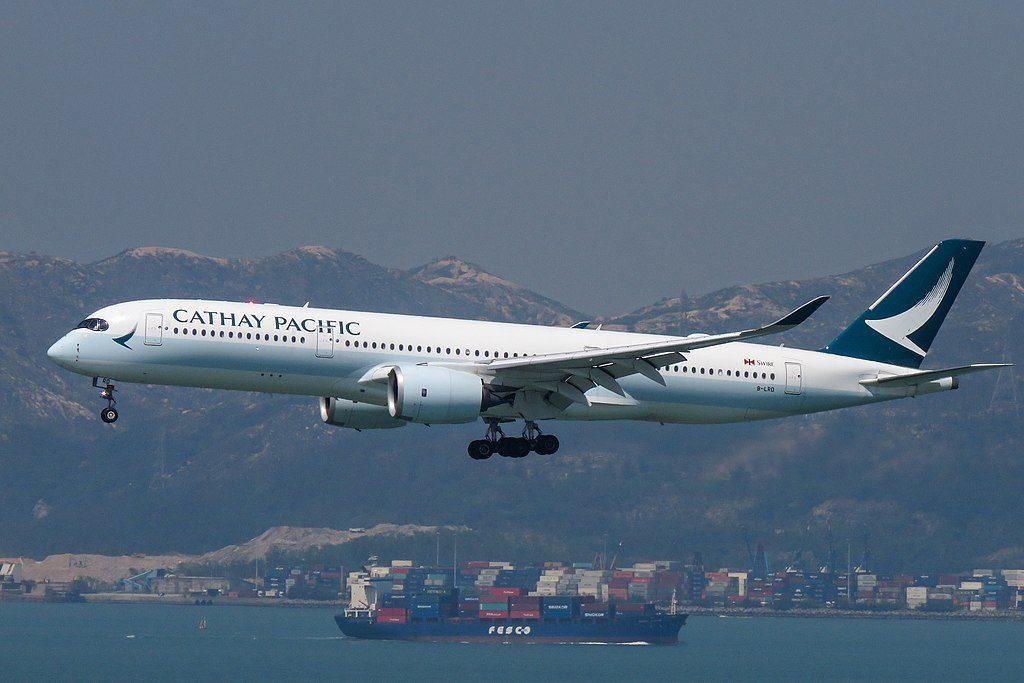Airbus A350 900 Cathay Pacific B LRD arrival from Manila at Hong Kong International Airport