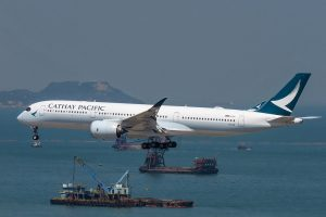 Airbus A350 900 Cathay Pacific B LRO arrival from Singapore at Hong Kong International Airport